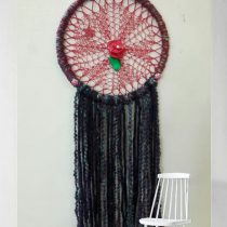 Wall Hanging with Knitted Doilies