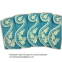 Handmade Light blue Paisley Envelopes