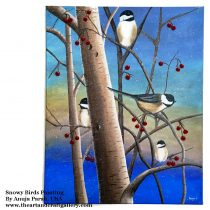 Mixed Media Snowy Birds Painting_ Anuja Parab