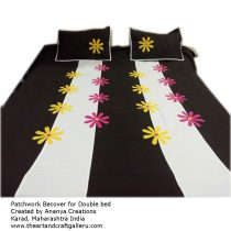 White and Black Striped Patchwork Bedsheet