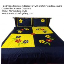 Yellow and Deep Blue Patchwork Bedsheet