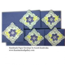 Purple Handmade  Envelopes with square doily
