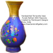 purple-paithani-peacock-vase
