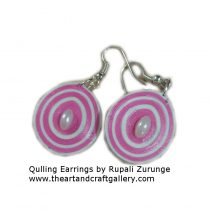 Quilling Earrings pink and white 05