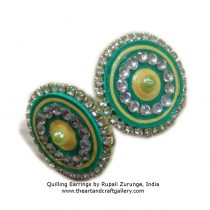 Quilling earrings in Green colour 1