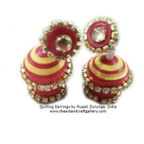 Quilling jhumka in red and yellow colours 3