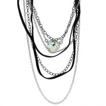 Glam Rock- swarovski crystal necklace-chain and suede-seriously-twisted-rock chic-collection-sydney-australia