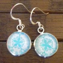 Teal Sand Dollar Earrings