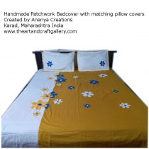 Ochre Yellow and White Patchworkd Bedsheet Cover